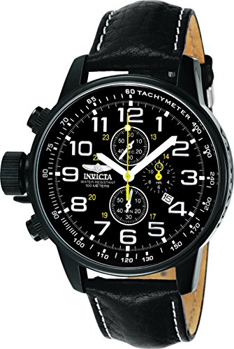 Invicta Men's 3332 Force Collection Stainless Steel Left-Handed Watch - Black Leather Band