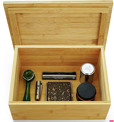 VUTADA Wood Stash Box Large with Rolling Tray - Handmade Decorative Stash Box - 11