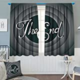 1950s Decor Collection Thermal Insulating Blackout Curtain Vintage Movie Ending Screen Camera Hollywood Industry Historic Entertainment Film Television Image Patterned Drape For Glass Door 52''x63'' Gr