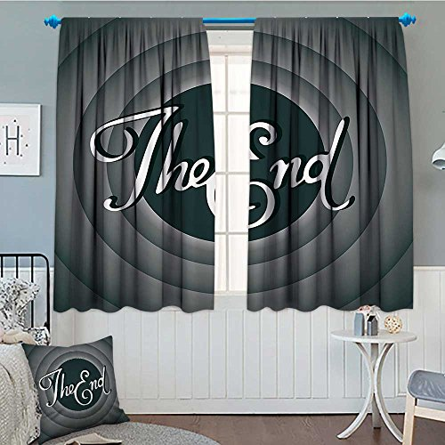 1950s Decor Collection Thermal Insulating Blackout Curtain Vintage Movie Ending Screen Camera Hollywood Industry Historic Entertainment Film Television Image Patterned Drape For Glass Door 52''x63'' Gr by lacencn