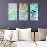 FlyWallD Ink Painting Navy Blue Marble Canvas Modern Wall Art Abstract Bedroom Print Large Wall Home Improvement Preferred Set of 3 Panel