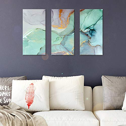 FlyWallD Ink Painting Navy Blue Marble Canvas Modern Wall Art Abstract Bedroom Print Large Wall Home Improvement Preferred Set of 3 Panel(Large) (3 Panel Painting)