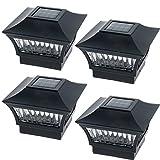 GreenLighting Aluminum Solar Post Cap Light 4x4 Wood or 5x5 PVC (Black, 4 Pack)