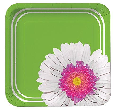 Creative Converting 8 Count Square Paper Dessert Plates, Daisy Power