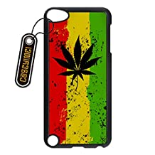CASEYIMEI Country American Flag Marijuana Cannabis Weed Hemp Leaf Smoker Custom made Design Black Plastic Cell Phone Cases Cover for iPod Touch 5 case