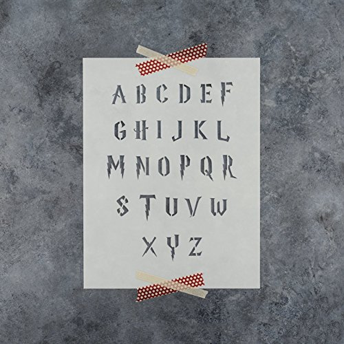 Durable Stencil - Letter Stencils Kit in Harry Potter Style - Full Plastic Alphabet Stencil Set - Durable 10 Mil Mylar (1