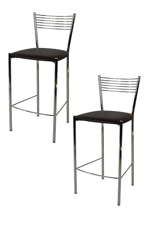 Tommychairs - Set 2 sgabelli Design Elegance Alti e Moderni per Cucina e  Bar e ristoranti, con Robusta Struttura in Acciaio Cromato e Seduta  Imbottita ...
