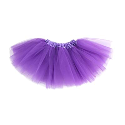 GOGO TEAM Girl's Tutu Skirt Ballet Dance Skirt Party Fairy Costume Skirt-Purple: Clothing