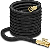 Nifty Grower 100ft Garden Hose - All New Expandable Water Hose with Double Latex Core, 3/4' Solid Brass Fittings, Extra Strength Fabric - Flexible Expanding Hose with Storage Bag for Easy Carry