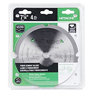 Hitachi 18008 4-Teeth Polycrystalline Diamond 7-1/4-Inch Dry Cutting Fiber Cement Saw Blade