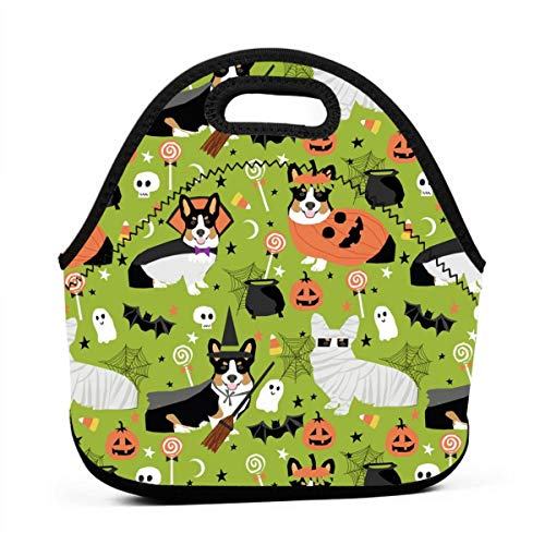 Tri-Colored Corgi Halloween Costumes Mummy Vampire Ghost Just Dog Light Green Lunch Bag Insulated Thermal Lunch Tote Outdoor Travel Picnic Carry Case Lunchbox Handbags with -