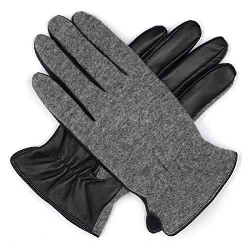 (Harssidanzar Mens Knitting Wool+Lambskin Leather Gloves Fleece Lined Touchscreen )