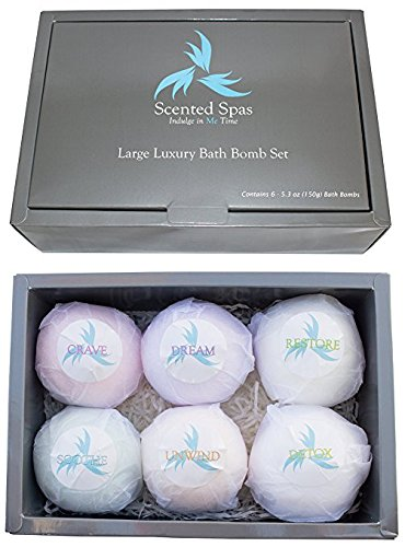 Bath Bombs Gift Set of 6-5.3oz (150g) Large and Lush Luxury – Extra Big – Gift Set For Wives, Moms, Bridesmaids, Weddings