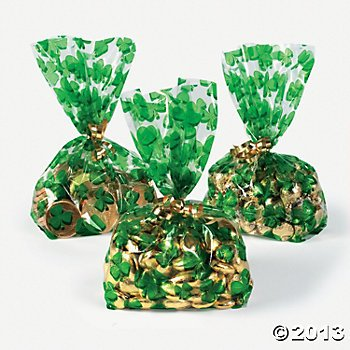 St. Patrick's Day Cellophane Shamrock Goody Bags