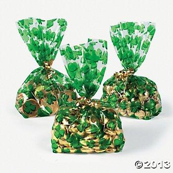 St. Patrick's Day Cellophane Shamrock Goody Bags