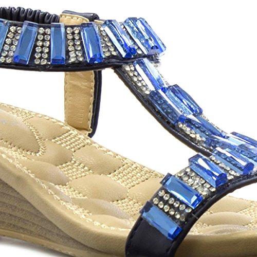 Lunar Womens Blue T Bar Jewel Wedge Sandal Blue T8I75zB8