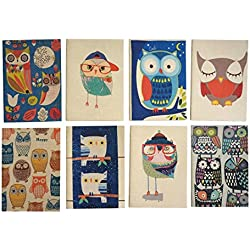 Set of 8, Owl Theme Mini Notebook, Blank Page, Party Favors for Birthday Baby Shower, Kids Note Books Mini Journal, Boys Girls Stationary Set