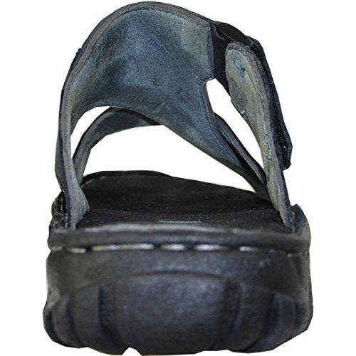 Kozi Sandalo Uomo In Pelle Nuovo Diego-01 Open Toe Con Dettagli Strappy Nero 12m