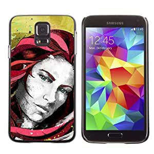 Licase Hard Protective Case Skin Cover for Samsung Galaxy S5 - Beautiful Girl Illustration