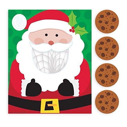 Festive Christmas Santa disc Cookie Toss Party Activity, Paper, Pack of - Santa Festive Bag