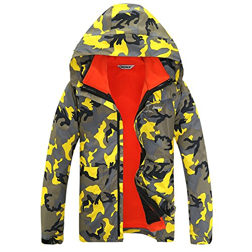 Sleeves Large Hat Warm Size Coat Zipper Camouflage Long Jacket FYM JACKETS DYF Camo Yellow X0qzzf