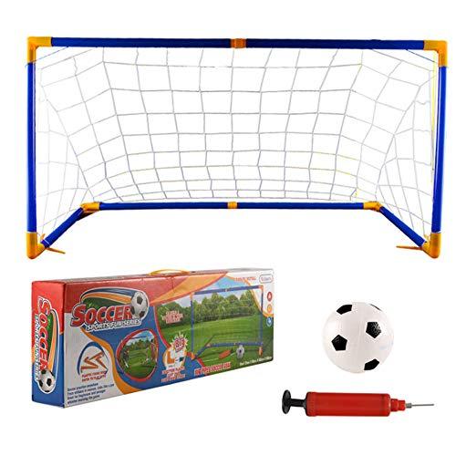 ErYao Portable Soccer Goal Set for Backyard - Pop-Up Soccer Goal - Portable Soccer Net - Assembled Ball Frame+ Football Net+ Football + Pump (Blue)
