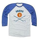 500 LEVEL's Thomas Greiss 3/4th Sleeve Baseball T-Shirt S Royal / Ash - Thomas Greiss New York I Sticks B - New York Hockey Fan Gear Officially Licensed by the NHL Players Association