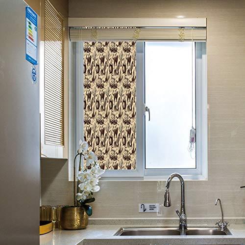 YOLIYANA Modern Glass Window Film No Glue Privacy Window Cling 3D Vintage Halloween Glass Stickers for Bathroom 24