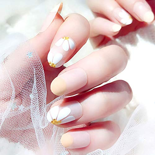 Drecode False Nails Daisy Flower Bling Sequins Fake Nails Wedding Birday Party Acrylic Nails for Women and Girls