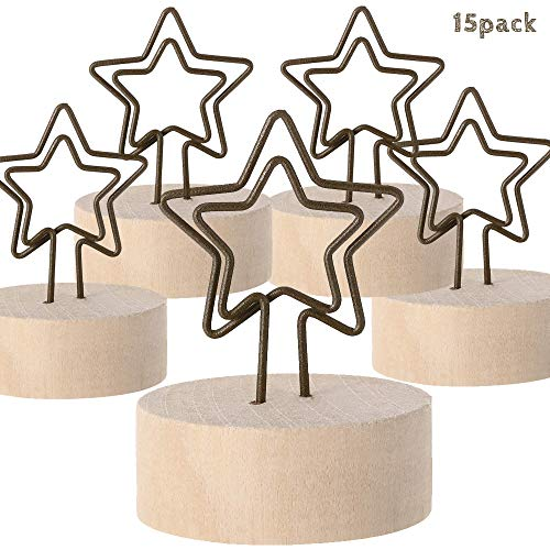 - Timor Wooden Base Card Holder, 15 Pcs Gift Pattern Photo Card Note Memo Table Holder Clip for Christmas Party Wedding Home Bar Decoration