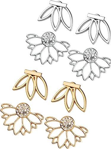 Flowers Rhinestone Stud - Mtlee 4 Pairs Clear Crystal Rhinestone Dangle Stud Earrings Simple Chic Stud Earrings Set (Three Petals and Lotus Flower)