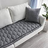 GX&XD Washed Cotton Sofa Cushioning Cover Solid Color Thicken Quilting Bay Window Mat Cover Seat Cushioning Window Sill Mat Non-Slip Floor Mat Rug-F 60x180cm(24x71inch)