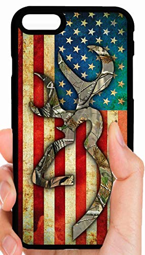 Browning Camo Buck Rustic American Flag Background Hunting Fishing Phone Case Cover - Select Model (Galaxy S10)