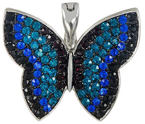 - Wearable Art by Roman Rhinestone Butterfly Pendant One Size Blue/Silver Tone Multi