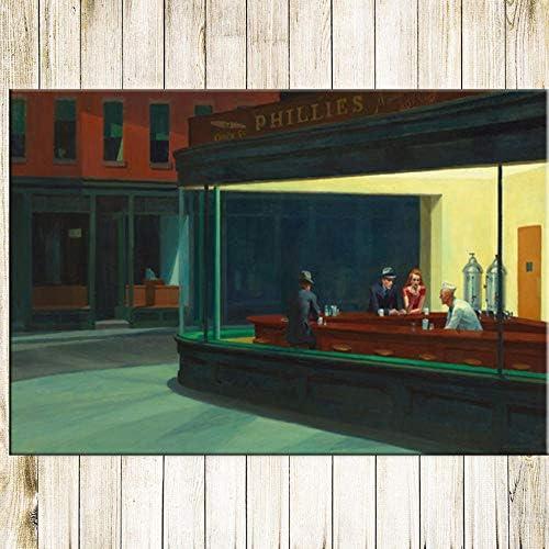 ナイトホークス静かなストリートクラシック絵画ポスター壁アート画像キャンバス絵画ポスター家の装飾-60x90cmx1ピースフレーム