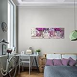 Bilder-Home-Flieder-Wandbild-Vlies-Leinwand-Bild-XXL-Format-Wandbilder-Wohnzimmer-Wohnung-Deko-Kunstdrucke-90-x-30-cm-Violett-3-Teilig-100-MADE-IN-GERMANY-Fertig-zum-Aufhngen-504034a