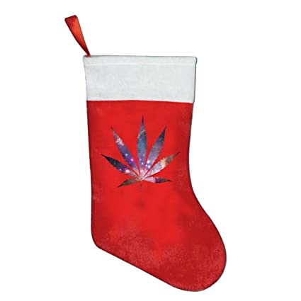 Hoja de Marihuana Weed Espacio Galaxy calcetín de Navidad calcetines de Navidad