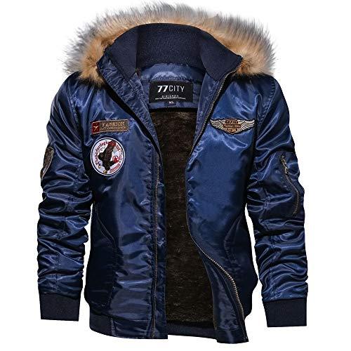 Toimothcn Men's Winter Casual Thicken Field Jacket Outwear Fleece Cargo Zipper Jackets Hooded Coat (Blue,XXL)