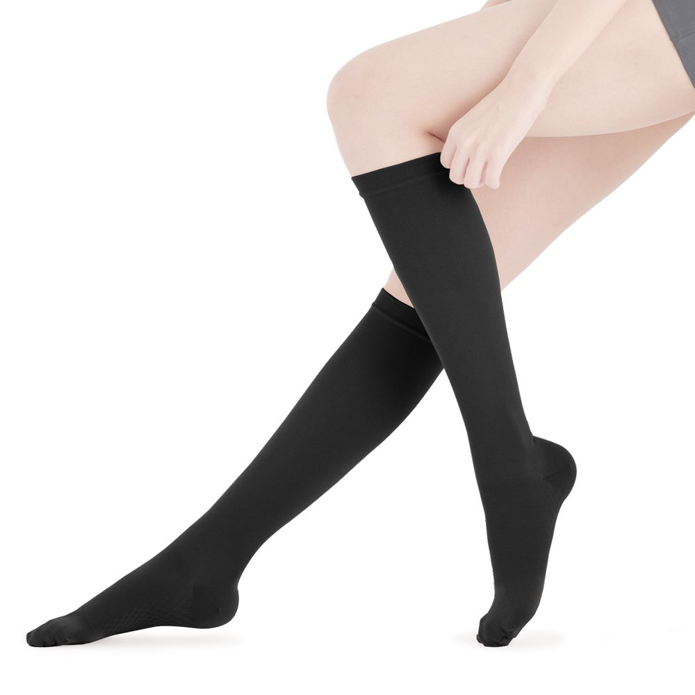 Fytto 2020 Women's Compression Socks, 15-20mmHg Knee High Microfiber Hosiery - Professional Support for Travel, Varicose Veins & Pregnancy, Slip-Resistant, Black, Medium