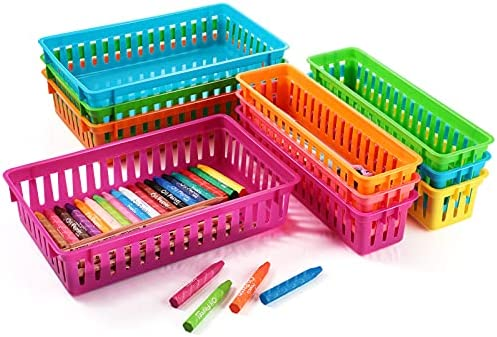 10 Pieces Plastic Classroom Storage Baskets,...