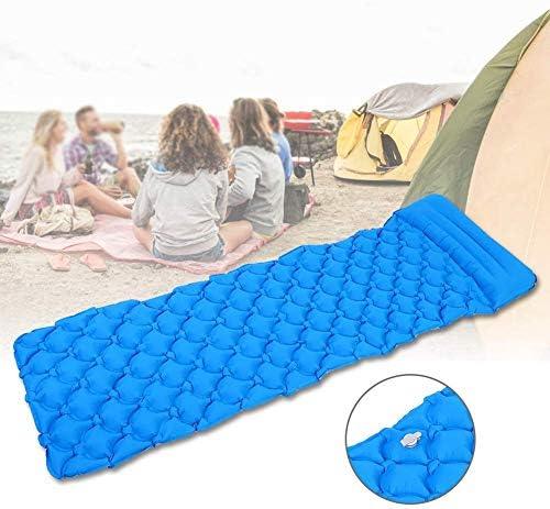 Duchen Outdoor-Schlafmatte, aufblasbar, ultraleicht, tragbar, wasserdicht, mit Kissen, weich, bequem, für Rucksackreisen, Wandern, Reisen blau