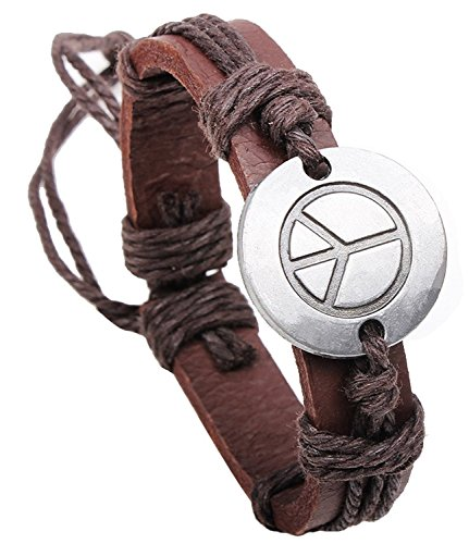 Xusamss Fashion Alloy Peace Sign Handmade Leather Rope Bracelet,7-8In(Brown)