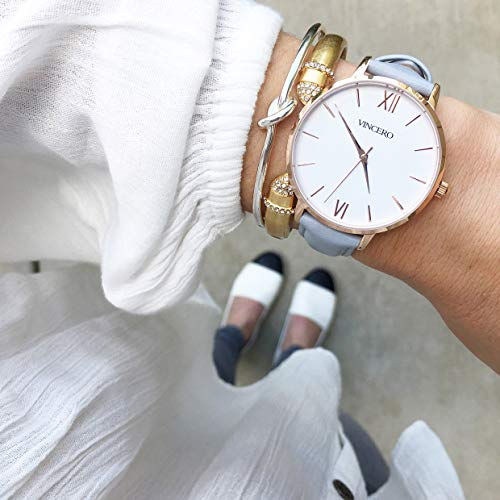 ee804f1e9127 Vincero Luxury Women s Eros Wrist Watch — Rose Gold + White dial with a Fog  Leather