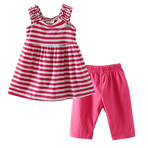 [LittleSpring Little Girls' Shorts Set Striped Size 5 Rose-red] (Halloween Outfits For Little Girls)