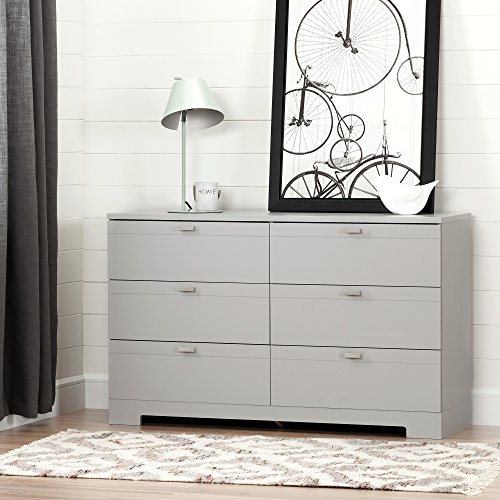 South Shore Reevo 6-Drawer Double Dresser, Soft Gray - Contemporary 6 Drawer Chest