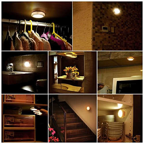 SOLLED Wireless LED Puck Lights, Kitchen Under Cabinet Lighting with Remote Control, Battery Powered Dimmable Closet Lights, 4000K Natural Light-6 Pack by SOLLED (Image #6)