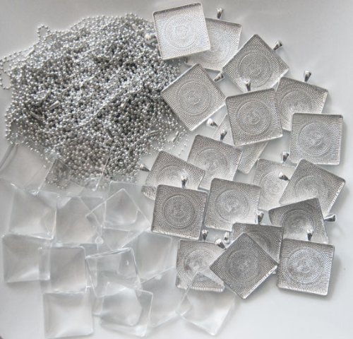 20 Pack Large Square Photo Pendants w/ Glass + 20 Ball Chains 1 1/4 Inches Silver Includes EZ Photo Jewelry Resizer Software