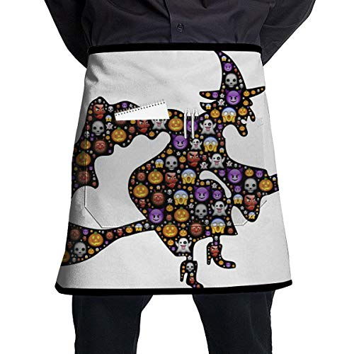 Lao Yang Mai Cute Halloween Ghost Expression Witch BBQ Waiter Housekeeper Pet Grooming Bartender Kitchen Beautician Hairstylist Nail Salon Carpenter Shoeing Wood Painting Artist Pocket Half Apron -