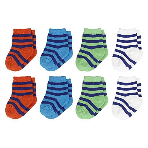 Infant Socks, Unisex Baby Boy Girl Newborn Cute Striped Soft Comfortable Organic Cotton Crew Socks 8 Pairs,6-18 Months Colorfox
