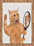 Kitten Area Rug by Lunarable, A Cat Looking into the Mirror and Seeing a Reflection of a Lion Digital Image, Flat Woven Accent Rug for Living Room Bedroom Dining Room, 5.2 x 7.5 FT, White and Apricot
